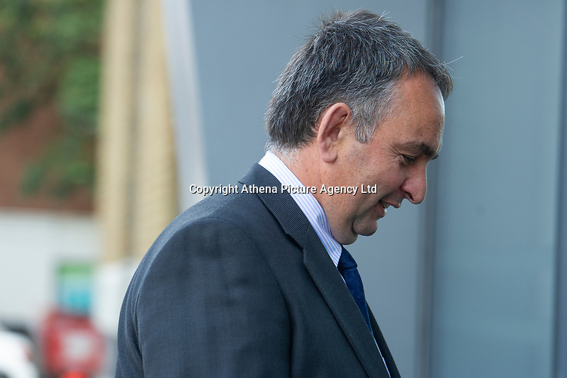Pictured: Enzo Sauro of Enzo Homes Ltd arrives at Swansea Magistrates' Court. Tuesday 13 August 2019<br /> Re: Developer in court over felling of beautiful '200-year-old' redwood tree at housing estate.<br /> A contractor has pleaded guilty to felling trees subject to a preservation order, but the owner of the site denies the charges against him.