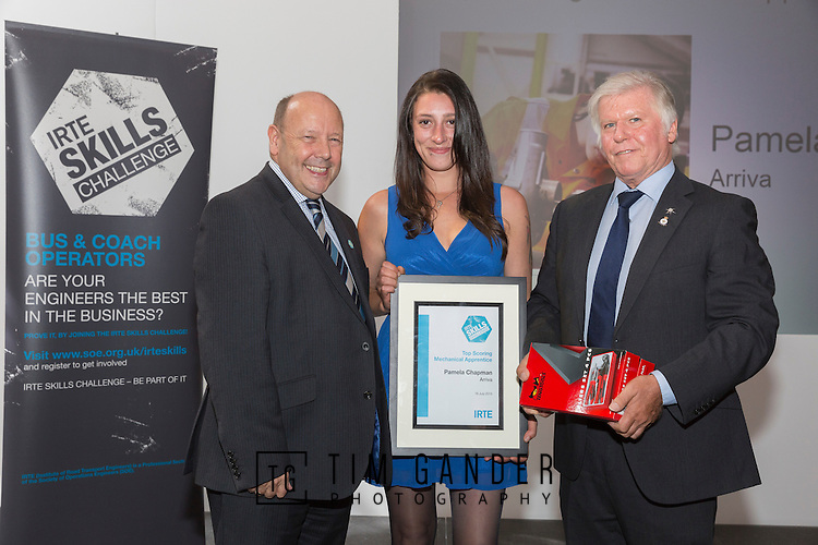 17/07/2015 The IRTE Skills Challenge 2015 prize-giving takes place at The National Motorcycle Museum, Birmingham. Gerry Fleming (left) presents the Top Scoring Mechanical Apprentice award to Pamela Chapman of Arriva, with John Winter of S&B (right).