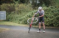 Boy van Poppel (NED/Trek-Segafredo) crashed out after a speedy descent in the race finale<br /> <br /> 12th Eneco Tour 2016 (UCI World Tour)<br /> Stage 7: Bornem › Geraardsbergen (198km)