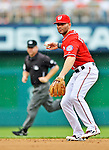 2 September 2012: Washington Nationals' second baseman Danny Espinosa fields a grounder against the St. Louis Cardinals at Nationals Park in Washington, DC. The Nationals edged out the visiting Cardinals 4-3, capping their 4-game series with three wins. Mandatory Credit: Ed Wolfstein Photo