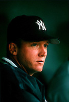 David Cone of the New York Yankees during a game at Anaheim Stadium in Anaheim, California during the 1997 season.(Larry Goren/Four Seam Images)