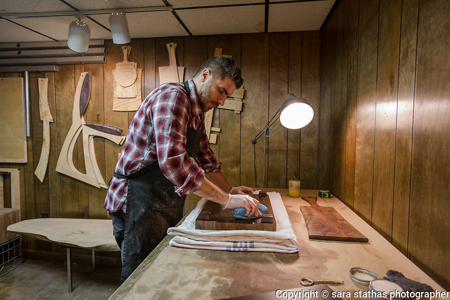 Joseph Lamacchia, designer and  craftsman, photographed in his former workshop and childhood home in Kenosha, WI