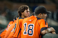 AZL Giants shortstop Francisco Medina (37) watches the action from the dugout during a game against the AZL Brewers on August 15, 2017 at Scottsdale Stadium in Scottsdale, Arizona. AZL Giants defeated the AZL Brewers 4-3. (Zachary Lucy/Four Seam Images)