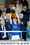 Killian Spillane Kerry captain lifts the cup after Kerry's victory over Meath in the All Ireland Junior Football Final at O'Moore Park, Portlaoise on Saturday.
