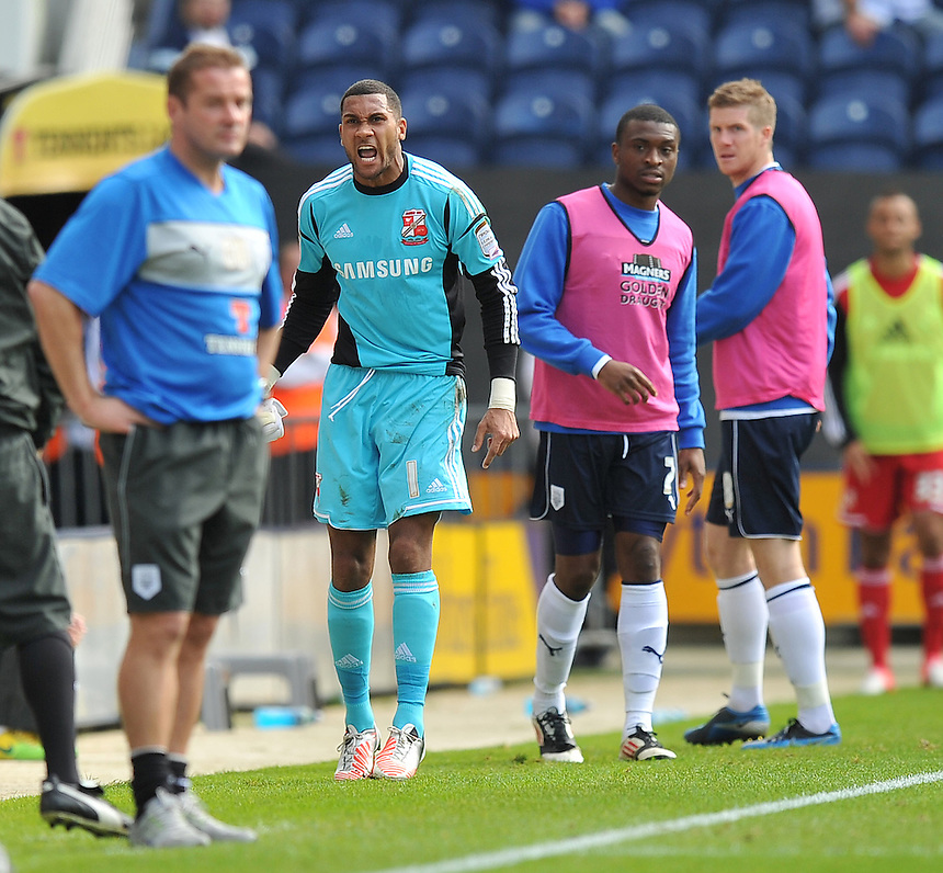 Swindon Town's Wes Foderingham is insenced at being replaced after 21 minutes..Football - npower Football League Division One - Preston North End v Swindon Town - Sunday 2nd September 2012 - Deepdale - Preston..