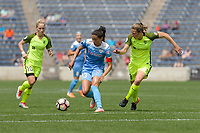 Bridgeview, IL - Sunday June 04, 2017: Christen Press, Rebekah Stott during a regular season National Women's Soccer League (NWSL) match between the Chicago Red Stars and the Seattle Reign FC at Toyota Park.