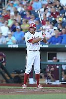 Indiana Hoosiers third baseman Dustin DeMuth #16 during Game 6 of the 2013 Men's College World Series between the Indiana Hoosiers and Mississippi State Bulldogs at TD Ameritrade Park on June 17, 2013 in Omaha, Nebraska. (Brace Hemmelgarn/Four Seam Images)