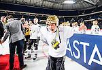 Solna 2014-03-15 Bandy SM-final Damer Kareby IS - AIK  :  <br /> AIK:s Elin Goude-&Ouml;hgren jublar efter matchen<br /> (Foto: Kenta J&ouml;nsson) Nyckelord:  SM SM-final final dam damer Kareby AIK jubel gl&auml;dje lycka glad happy