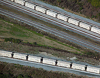aerial photograph CSX rail road cars Tampa, Florida