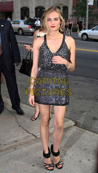 "DIANE KRUGER .New York Screening of ""Inglourious Basterds"" held at the SVA Theatre, New York, NY, USA, .August 17th 2009..half length black silver grey gray gunmetal beaded dress mini sequined shoes sandals ankle strap .CAP/LNC/TOM.©LNC/Capital Pictures."