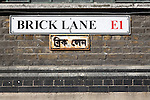 Brick Lane London E1 street sign in English and Bengali languages