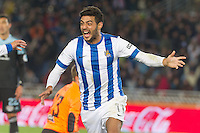 Real Sociedad's Carlos Vela celebrates goal during La Liga match.November 23,2013. (ALTERPHOTOS/Mikel)