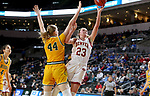SIOUX FALLS, SD - MARCH 8: Madison Nelson #23 of the Denver Pioneers goes up for a layup against Danneka Voegeli #44 of the North Dakota State Bison at the 2020 Summit League Basketball Championship in Sioux Falls, SD. (Photo by Dave Eggen/Inertia)