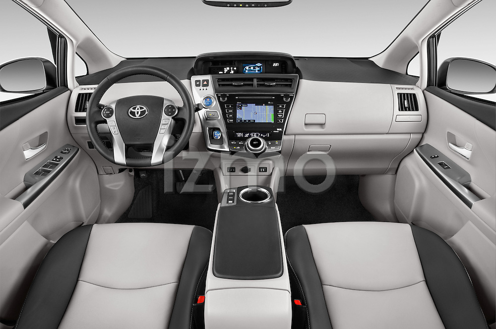 Stock photo of straight dashboard view of a 2015 Toyota Prius v Four 4 Door Hatchback Dashboard