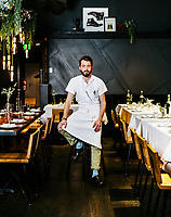 Chef John Lavelle at The Way Back restaurant in Denver, Colorado, Friday, January 11, 2019. Dishes photographed include: Diablo cocktail, farmers' market sushi, Okonomiyaki, fried delicate squash, roast chicken, and pasta with chicken livers.<br /> <br /> Photo by Matt Nager