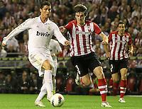 2.05.2012. Bilbao, Spain. La Liga. Real Madrid beat Athelicto de Bilbao 0-3 at San Mames stadium  and   is new La Liga championship. Picture show Cristiano Ronaldo and Aurtenetxe