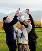 Pictured at the launch of 'Sam to the Summit' which will take place on May 16th 2014 at Keel GAA field in County Kerry on Thursday night were legendary footballers Darragh O'Se, Tom Prendergast and Anthony Kerins.<br /> Picture by Don MacMonagle