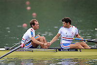 Ottensheim, AUSTRIA.  GBR. LM2-, left,  Danny HARTE and Chris BARTLEY. shake hands before the  morning semi final,  before the start, 2008 FISA Senior and Junior Rowing Championships,  Linz/Ottensheim. Friday,  25/07/2008.  [Mandatory Credit: Peter SPURRIER, Intersport Images] Rowing Course: Linz/ Ottensheim, Austria