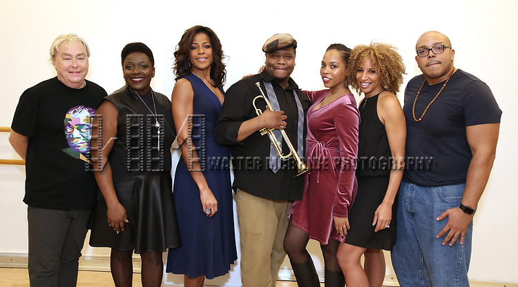 "Christopher Renshaw, Darlene Hope, Nicole Henry, Juson Williams, Dionne Figgins, Lana Gordon and Aurin Squire During the Open Rehearsal for the Miami New Drama's World Premiere Musical  ""A Wonderful World"" at the Ripley-Grier Studios on January 26, 2020 in New York City."