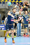 GER - Mannheim, Germany, September 23: Players warm-up before the DKB Handball Bundesliga match between Rhein-Neckar Loewen (yellow) and TVB 1898 Stuttgart (white) on September 23, 2015 at SAP Arena in Mannheim, Germany.  Gedeon Guardiola Villaplana #30 of Rhein-Neckar Loewen<br /> <br /> Foto &copy; PIX-Sportfotos *** Foto ist honorarpflichtig! *** Auf Anfrage in hoeherer Qualitaet/Aufloesung. Belegexemplar erbeten. Veroeffentlichung ausschliesslich fuer journalistisch-publizistische Zwecke. For editorial use only.