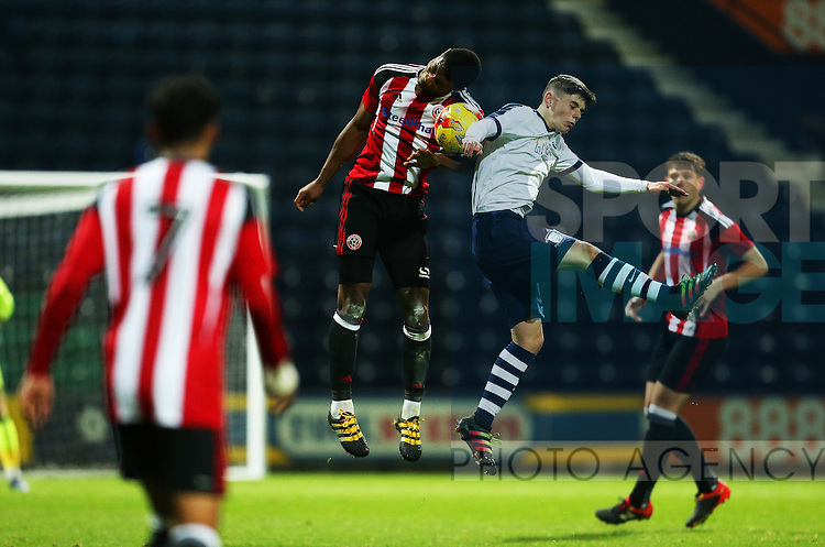 Sam Graham of Sheffield United U18's wins a header during the FA Youth Cup 3rd Round match at Deepdale Stadium, Preston. Picture date: November 30th, 2016. Pic Matt McNulty/Sportimage