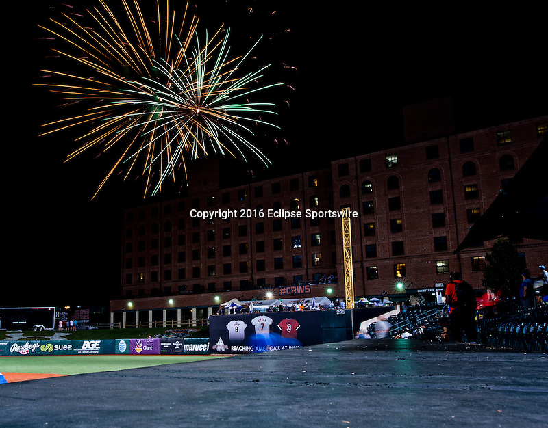 ABERDEEN, MD - AUGUST 05: Fireworks after the International Championship game between Japan and Puerto Rico during the Cal Ripken World Series at The Ripken Experience Powered by Under Armour on August 5, 2016 in Aberdeen, Maryland. (Photo by Ripken Baseball/Eclipse Sportswire/Getty Images)