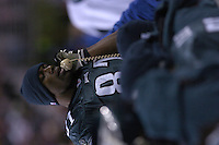 12 December 2004: Terrell Owens talks with upstairs.<br />