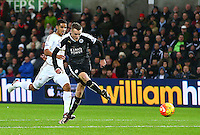 Jamie Vardy of Leicester City misses a chance to score when through on goal at 0-1 during the Barclays Premier League match between Swansea City and Leicester City played at The Liberty Stadium on 5th December 2015