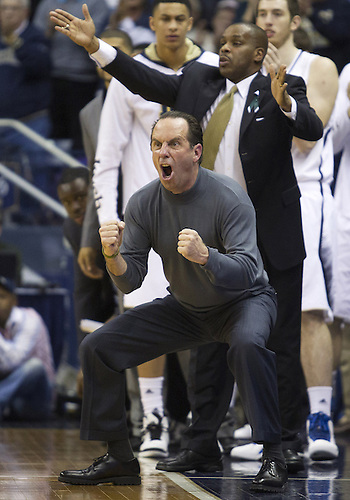 January 12, 2013:  Notre Dame head coach Mike Brey reacts during NCAA Basketball game action between the Notre Dame Fighting Irish and the Connecticut Huskies at Purcell Pavilion at the Joyce Center in South Bend, Indiana.  Connecticut defeated Notre Dame 65-58.