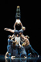 London, UK. 18.02.2014. Circa and the Debussy String Quartet present OPUS at the Barbican. Picture shows: Kimberley Rossi (horizontal) and Lewis West (handstand) with Casey Douglas (supporting). Photograph © Jane Hobson.