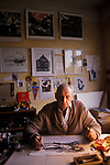 Soviet spy and KGB former double agent Uitolins now working as an artist In his home in Jurmala Latvia. 1989. See Tom Bowers book The Red Web (1989)