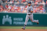 23 July 2016: San Diego Padres infielder Ryan Schimpf in action against the Washington Nationals at Nationals Park in Washington, DC. The Nationals defeated the Padres 3-2 to tie their series at one game apiece. Mandatory Credit: Ed Wolfstein Photo *** RAW (NEF) Image File Available ***
