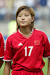 1 August 2004: Ji Ting. The United States defeated China 3-1 at Rentschler Field in East Hartford, CT in an women's international friendly soccer game..