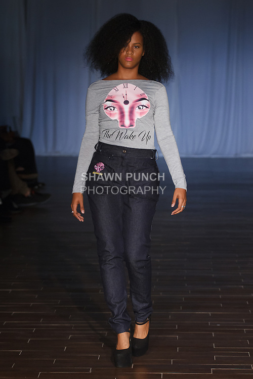 Model walks runway in an outfit from the Alicia Mullings Spring 2017 collection for Fashion Week Brooklyn Spring Summer 2017, on October 7th 2016 at Brooklyn Expo Center.