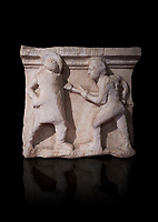 Roman relief sculptures of gladiator fights 3rd century AD from Hierapolis Northern Necropolis. Hierapolis Archaeology Museum, Turkey . Against an black background