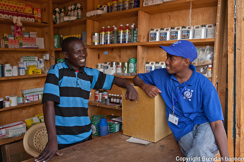 IOM supports a veterinary pharmacy run by the Elin youth group in Alinjugur, Kenya. The pharmacy is staffed by lab technician Musa Mohammed. In addition to  selling medications the shop also collects and sends samples for lab testing.