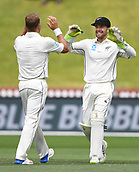 4th December 2017, Basin Reserve, Wellington, New Zealand; International Test Cricket, Day 4, New Zealand versus West Indies;  Neil Wagner celebrates the wicket of Holder with wicketkeeper Tom Blundell