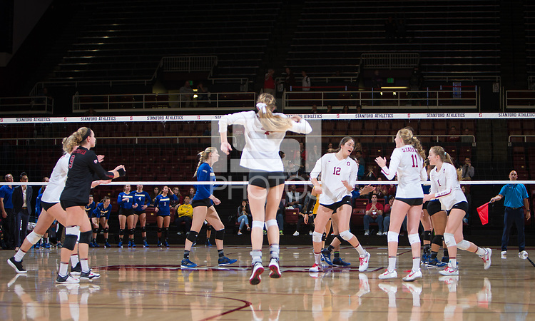 STANFORD, CA - December 1, 2017: Kathryn Plummer, Morgan Hentz, Meghan McClure, Audriana Fitzmorris, Kate Formico, Jenna Gray at Maples Pavilion. The Stanford Cardinal defeated the CSU Bakersfield Roadrunners 3-0 in the first round of the NCAA tournament.