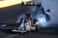 Jul. 20, 2013; Morrison, CO, USA: NHRA top fuel dragster driver Shawn Langdon during qualifying for the Mile High Nationals at Bandimere Speedway. Mandatory Credit: Mark J. Rebilas-