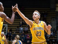 Layshia Clarendon of California gives high fives with Gennifer Brandon during the game against UCLA at Haas Pavilion in Berkeley, California on January 20th, 2013.   California defeated UCLA, 70-65.