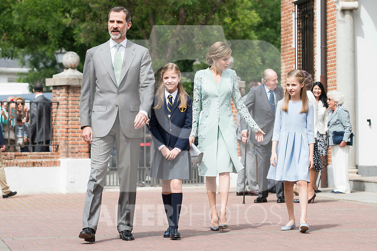 King Felipe VI of Spain, Princess Sofia of Spain, Queen Letizia of Spain  and Princess Leonor of Spain pose to the media at First Communion of princess Sofia at Asuncion de Nuestra Senora Church in Madrid, May 17, 2017. Spain.<br /> (ALTERPHOTOS/BorjaB.Hojas)