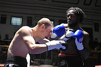 Jeffry Ofori (black shorts) defeats Alexandr Birkenbergs during a Boxing Show at York Hall on 14th April 2018