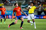 Saul Iniguez of Spain competes for the ball with Juan Guillermo Cuadrado of Colombia during the friendly match between Spain and Colombia at Nueva Condomina Stadium in Murcia, jun 07, 2017. Spain. (ALTERPHOTOS/Rodrigo Jimenez)