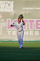 Jackson Generals right fielder Victor Reyes (5) settles under a fly ball during a game against the Chattanooga Lookouts on April 27, 2017 at The Ballpark at Jackson in Jackson, Tennessee.  Chattanooga defeated Jackson 5-4.  (Mike Janes/Four Seam Images)