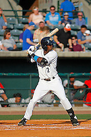 Charleston RiverDogs infielder Jorge Mateo (2) at bat during a game against the Hickory Crawdads at Joseph P. Riley Jr. Ballpark on May 2, 2015 in Charleston, South Carolina. Hickory defeated Charleston  4-1. (Robert Gurganus/Four Seam Images)