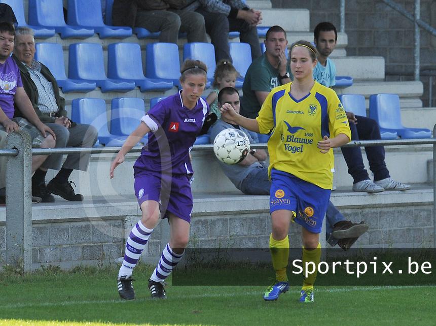 Beerschot Dames - STVV  Sint-Truiden VV Dames :.Lisa Korevaar en Kristien Elsen.foto JOKE VUYLSTEKE / Vrouwenteam.be