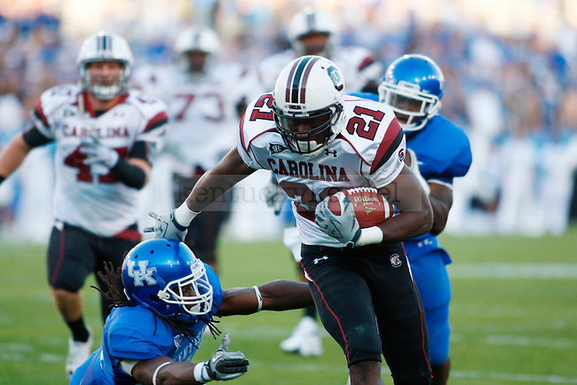in the first half of UK's  loss to South Carolina football on Saturday, Oct. 16, 2010. Photo by Britney McIntosh | Staff UK's 31-28 win over  South Carolina football on Saturday, Oct. 16, 2010. Photo by Britney McIntosh | Staff