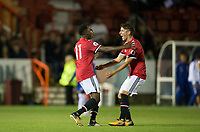 goal scorer Tosin Kehinde of Manchester United celebrates with Callum Whelan of Manchester United during the U23 Premier League 2 match between Chelsea and Manchester United at the EBB Stadium, Aldershot, England on 18 September 2017. Photo by Andy Rowland.