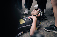 directly after winning stage 8 Lilian Calmejane (FRA/Direct Energie) collapses to the ground after the finish line with cramps<br /> <br /> 104th Tour de France 2017<br /> Stage 8 - Dole &rsaquo; Station des Rousses (187km)
