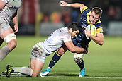 29th September 2017, Sixways Stadium, Worcester, England; Aviva Premiership Rugby, Worcester Warriors versus Saracens; Jamie Shillcock of Worcester Warriors is tackled by Brad Barritt of Saracens